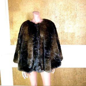 Restoration Hardware brown faux fur snaps cape